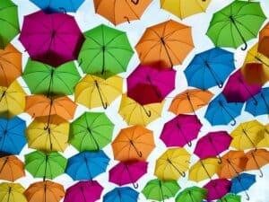 Colourful Umbrellas To Show Colour Contrast