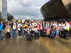 Group of Ataxia Volunteers Gathering Outside